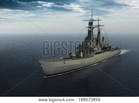 Modern Warship In The High Seas. 3D Illustration.