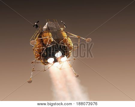 Mars Lander In The Atmosphere Of The Red Planet. 3D Illustration.