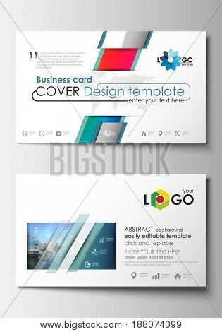 Business card templates. Cover design template, easy editable blank, abstract flat layout. Abstract triangles, blue triangular background, modern colorful polygonal vector.