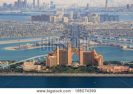 Dubai The Palm Island Atlantis Hotel Aerial View Photography
