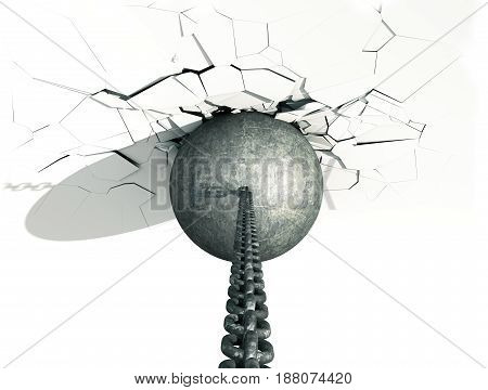 Metallic Wrecking Ball Shattering The White Wall. Top view. 3D Illustration.