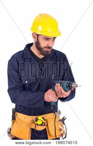 Smiling beard young worker drilling by driller tool man wearing workswear and belt equipment isolated on white background