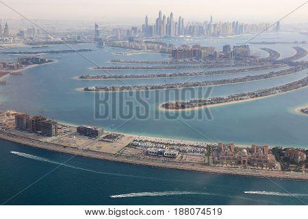 Dubai The Palm Jumeirah Island Marina Aerial View Photography