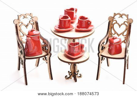 Toy Party With Small Red Ceramic Kitchenware