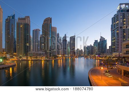 Dubai Marina Skyscraper Skyscrapers Twilight Night Blue Hour