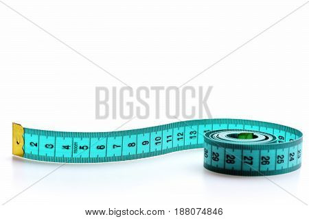 Roll Of Greenish Blue Flexible Ruler With Metal Golden Ends