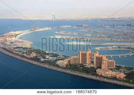 Dubai The Palm Island Atlantis Hotel Burj Al Arab Aerial View Photography