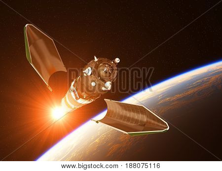 Launch Of Cargo Spacecraft On Background Of Rising Sun. 3D Illustration.
