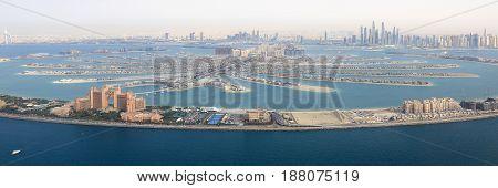 Dubai The Palm Island Atlantis Hotel Panorama Marina Aerial View Photography