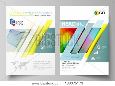 Business templates for brochure, magazine, flyer, booklet or annual report. Cover design template, easy editable vector, abstract flat layout in A4 size. Colorful design with overlapping geometric shapes and waves forming abstract beautiful background.