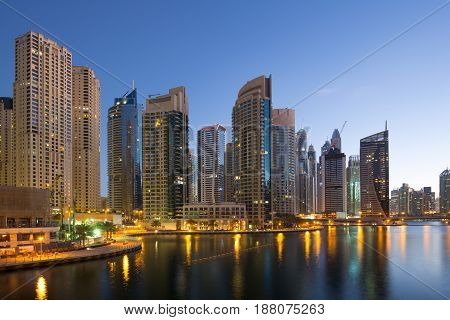 Dubai Marina Skyscraper Skyscrapers Twilight Night Blue Hour