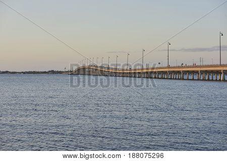 Charlotte Florida bridge and harbor at sunset