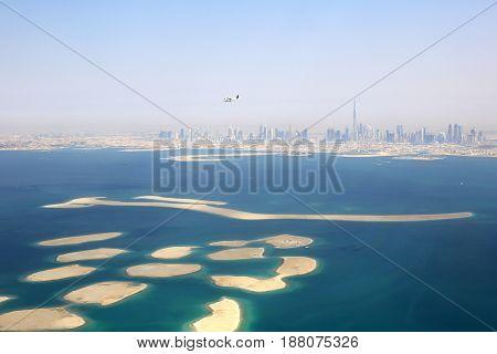 Dubai The World Islands Island Burj Khalifa Aerial View Photography