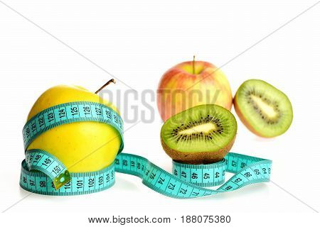 Apple Fruit Belted Around With Bright Blue Measure Tape
