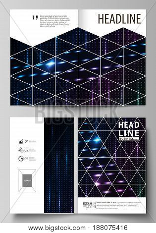 Business templates for bi fold brochure, magazine, flyer, booklet or annual report. Cover design template, easy editable vector, abstract flat layout in A4 size. Abstract colorful neon dots, dotted technology background. Glowing particles, led light patte