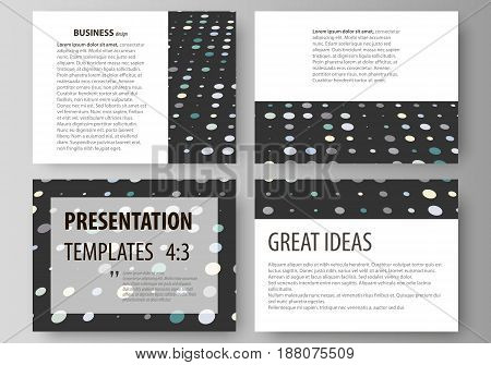Set of business templates for presentation slides. Easy editable abstract vector layouts in flat design. Abstract soft color dots with illusion of depth and perspective, dotted technology background. Multicolored particles, modern pattern, elegant texture