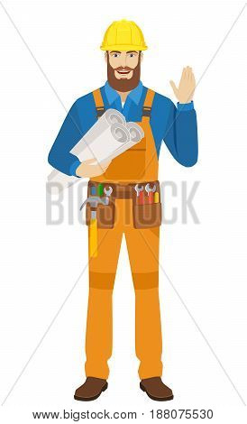 Worker holding the project plans and greeting someone with his hand raised up. Full length portrait of worker character in a flat style. Vector illustration.