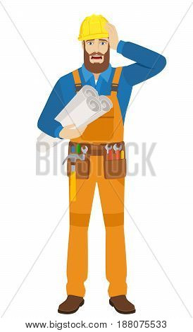 Worker holding the project plans and grabbed his head. Full length portrait of worker character in a flat style. Vector illustration.