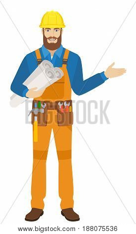 Welcome! Worker holding the project plans and showing something beside of him. Full length portrait of worker character in a flat style. Vector illustration.