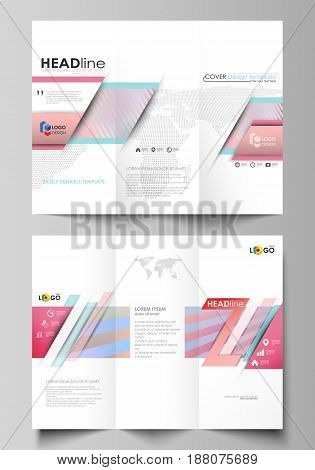 Tri-fold brochure business templates on both sides. Easy editable abstract vector layout in flat design. Sweet pink and blue decoration, pretty romantic design, cute candy background.