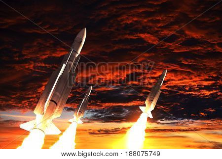 Three Rockets Takes Off On The Background Of Apocalyptic Sky. 3D Illustration.