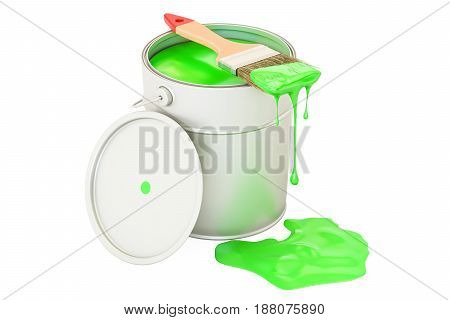 Can with green paint and brush 3D rendering isolated on white background