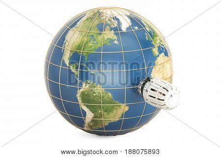Earth globe with thermostatic radiator valve. Global warming concept 3D rendering isolated on white background