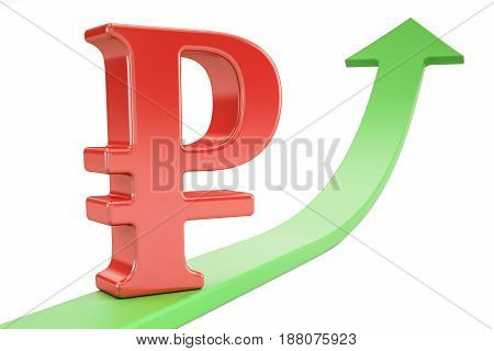 Growth green arrow with symbol of ruble 3D rendering