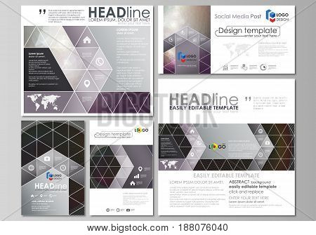 Social media posts set. Business templates. Easy editable abstract flat design template, vector layouts in popular formats. Dark color triangles and colorful circles. Abstract polygonal style modern background.