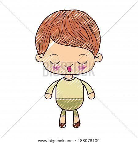 colored crayon silhouette of kawaii little boy with funny facial expression vector illustration