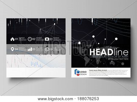 Business templates for square design brochure, magazine, flyer, booklet or annual report. Leaflet cover, abstract flat layout, easy editable vector. Colorful abstract infographic background in minimalist style made from lines, symbols, charts, diagrams an