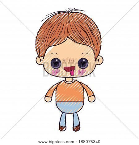 colored crayon silhouette of kawaii little boy with facial expression in love vector illustration
