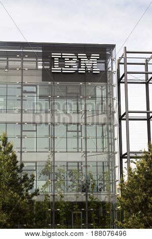 Prague, Czech Republic - May 22: Ibm Company Logo On Headquarters Building On May 17, 2017 In Prague