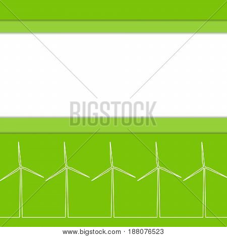 Green eco concept - wind energy. Winds generators - 3d vector style. Element of design or infographics. Alternative power energy technology. Green energy