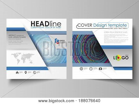 Business templates for square design brochure, magazine, flyer, booklet or annual report. Leaflet cover, abstract flat layout, easy editable vector. Blue color background in minimalist style made from colorful circles.