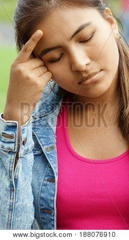 Peruvian Girl Youngster Thinking Wearing a Pink Shirt poster