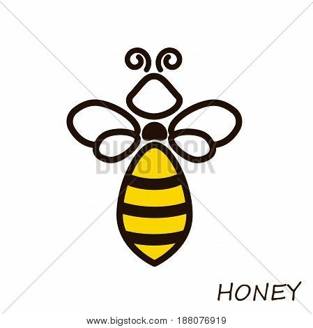 Modern logo bee honey. Icons honeybee Linear flute. Sign