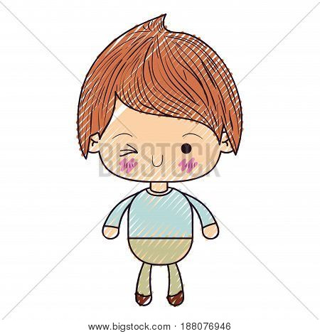colored crayon silhouette of kawaii little boy winking eye vector illustration