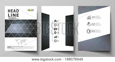 Business templates for brochure, magazine, flyer, booklet or annual report. Cover design template, easy editable vector, abstract flat layout in A4 size. Colorful dark background with abstract lines. Bright color chaotic, random, messy curves. Colourful v