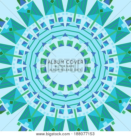 Abstract beautiful album cover presentation template with elegant ornate sun consisting of repeating traceries vector illustration