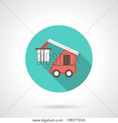 Symbol of red lifting machine carrying cargo for loading to freight train. Round flat design blue vector icon, long shadow.