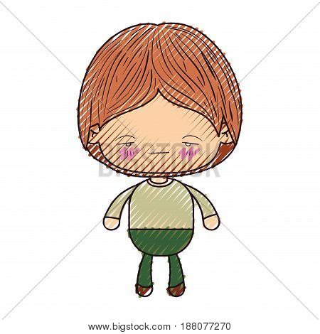 colored crayon silhouette of kawaii little boy with facial expression nervous vector illustration