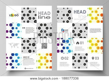 Business templates for brochure, magazine, flyer, booklet or annual report. Cover design template, easy editable vector, abstract flat layout in A4 size. Chemistry pattern, hexagonal design molecule structure, scientific, medical DNA research. Geometric c