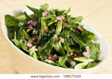 Vegan green spring salad of lettuce spring onion and different herbs.