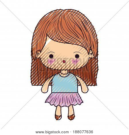 colored crayon silhouette of kawaii little girl with straight hair and facial expression surprised vector illustration