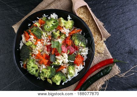 Colorful Rice And Vegetable Salad - Fresh Mixed Colorful Healthy Vegetarian Food