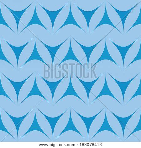 Blue geometric triangulars background. Curvilinear triangles. A symmetrical pattern. A seamless texture. Seamless geometric blue background.