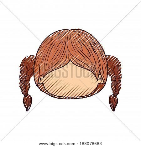 colored crayon silhouette of faceless head of little girl with hair pigtails vector illustration