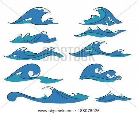 Vector set of hand drawn cartoon ocean waves nautical elements for your design