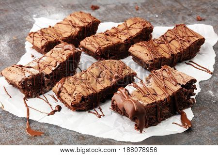 Homemade Chocolate Brownies On Grey Background